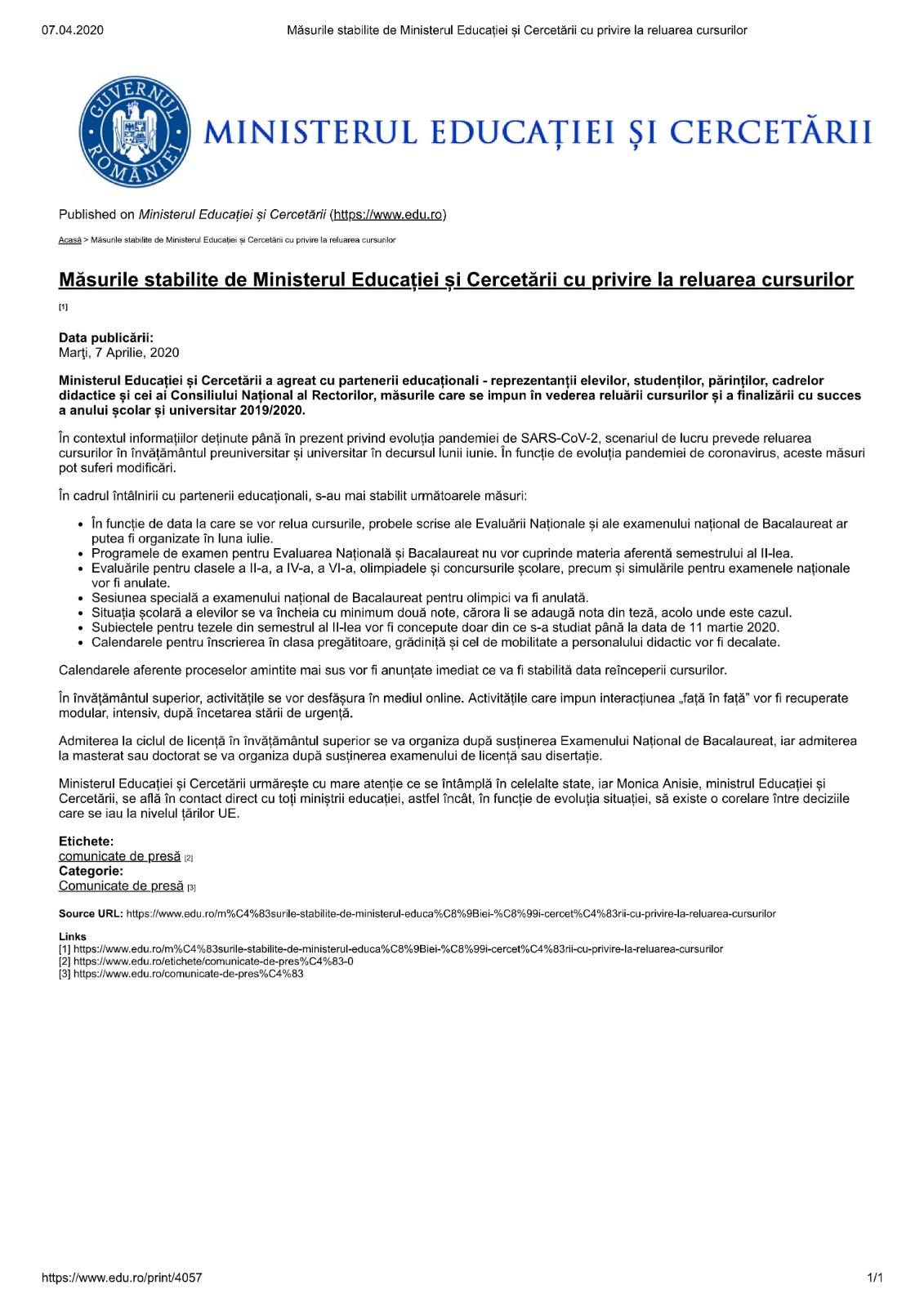 masuri-stabilite-de-ministerul-educatiei-si-cercetarii-cu-privire-la-reluarea-cursurilor